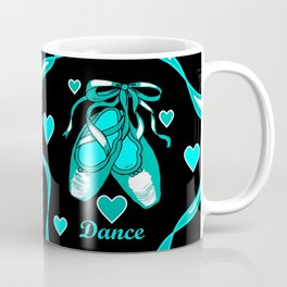Love to Dance Teal Ballet Shoes Coffee Mug