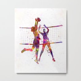 Women volleyball players in watercolor Metal Print