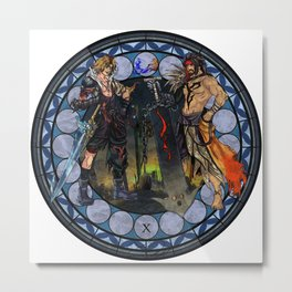 Final Fantasy X Stained Glass Drawing  Metal Print