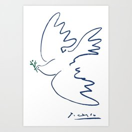 Pablo Picasso Dove Of Peace In Blue 1949 Artwork Reproduction Art Print