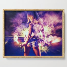 9366 Sexy Blonde Girl Fireworks Serving Tray