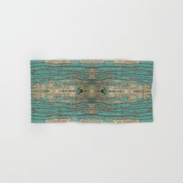 Weathered Rustic Wood - Weathered Wooden Plank - Beautiful knotty wood weathered turquoise paint Hand & Bath Towel