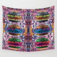 doom Wall Tapestries featuring black burger doom zone by STORMYMADE