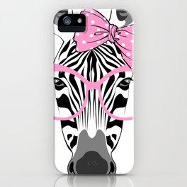 Cute glamour zebra iPhone Case