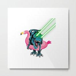 Laser Eye T-Rex in Flamingo Float  Funny Galaxy T-Rex T-Shirt Metal Print