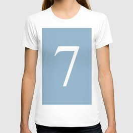 number seven sign on placid blue color background T-shirt