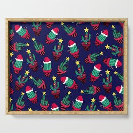 Cute Navy Decorated Cactus Tree Christmas Lights Serving Tray
