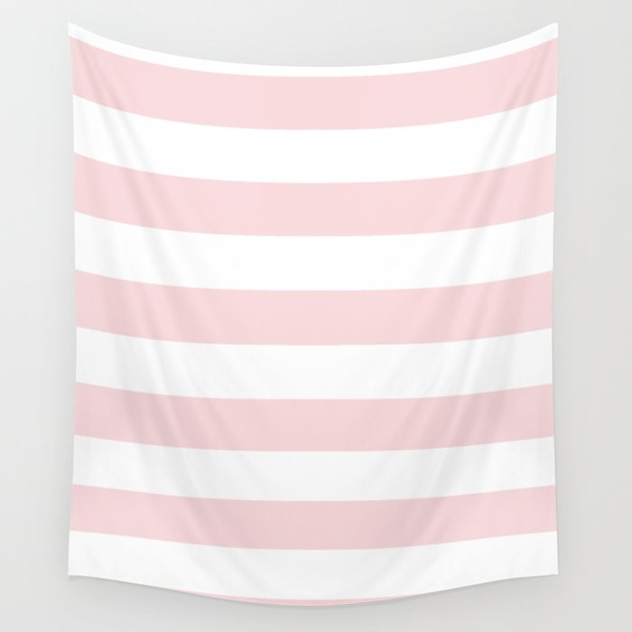 Horizontal Stripes - White and Light Pink Wall Tapestry by ...