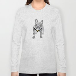 Typographic French Bulldog - Black and White Long Sleeve T-shirt