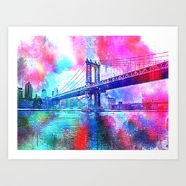 Colorful New York Pink Blue Photograph Art Print