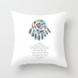 Follow Your Dreams - Colorful Native American Art - By Sharon Cummings Throw Pillow