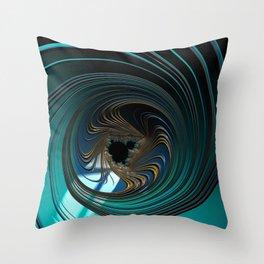 BEYOND metallic sea green and gold circular fractal universe Throw Pillow