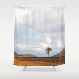 Lanzarote Palm tree landscape Shower Curtain