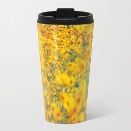 Painterly Yellow Sunflower Botanical with Abstract Elements Travel Mug