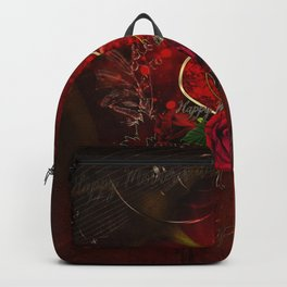 Happy mother's day with heart and roses Backpack