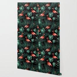 Tropical Flamingo Night Pattern #1 #tropical #decor #art #society6 Wallpaper