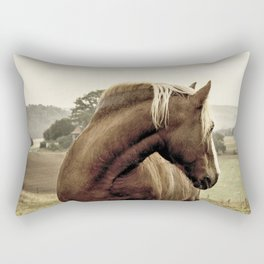 brown horse on the hill Rectangular Pillow