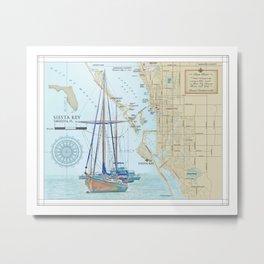 Sarasota and Siesta Key Nautical Area Map Metal Print