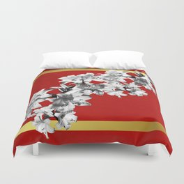 Lilies, Lily Flowers on Red Duvet Cover
