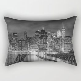 NEW YORK CITY Monochrome Night Impressions | Panoramic Rectangular Pillow