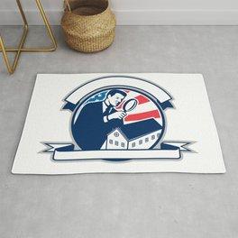 American Home Inspector USA Flag Circle Icon Rug
