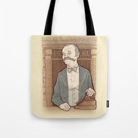 wes anderson Tote Bags featuring Monsieur Ivan or Bill Murray on The Grand Budapest Hotel from Wes Anderson by suPmön