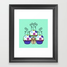 Cute Monster With Pink And Blue Polkadot Cupcakes Framed Art Print