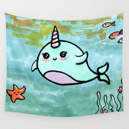 Cute narwhal Wall Tapestry