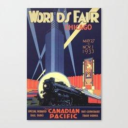 World's Fair Chicago 1933 Vintage Poster Canvas Print