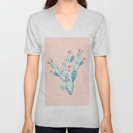 Rose Desert Cactus on Pink by Nature Magick Unisex V-Neck