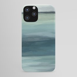 Seafoam Green Mint Navy Blue Abstract Ocean Art Painting iPhone Case