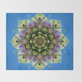 Intricate floral kaleidoscope - Vebena, Dichondra leaves with blue sky Throw Blanket
