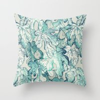 fig Throw Pillows featuring Fig Leaf Fancy - a pattern in teal and grey by micklyn