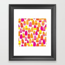 Pink Lobster Buoy Pattern Framed Art Print