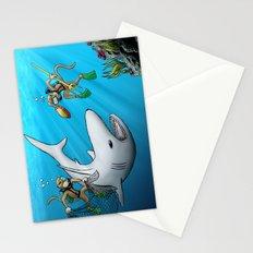 Monkeys Fighting Shark Stationery Cards