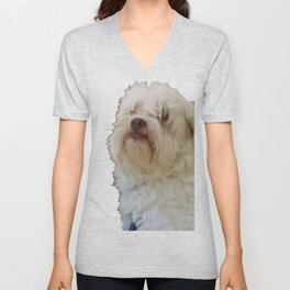 Grumpy Terrier Dog Face Unisex V-Neck