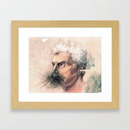 I'm a real live wire. - David Byrne Portrait Framed Art Print