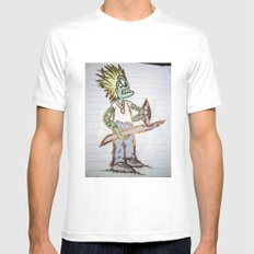 frog man MEDIUM White Mens Fitted Tee