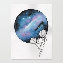 """""""Cotton Candy Galaxy"""" watercolor with pen drawn cotton Canvas Print"""