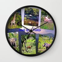 south africa Wall Clocks featuring South Africa Wildlife by Art-Motiva