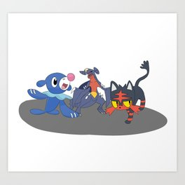 Litten Popplio & Garchomp Art Print