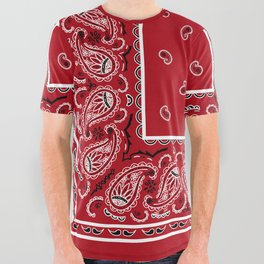 Classic Red Bandana All Over Graphic Tee