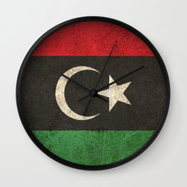 Old and Worn Distressed Vintage Flag of Libya Wall Clock