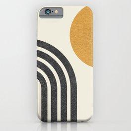 Mid century modern Sun & Rainbow iPhone Case