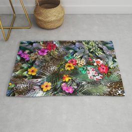 flowers and leopard background Rug