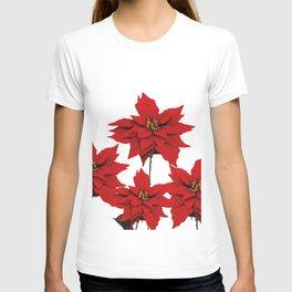 Red Poinsettia flower T-shirt