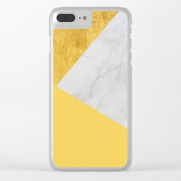 Carrara marble with gold and Pantone Primrose Yellow color Clear iPhone Case