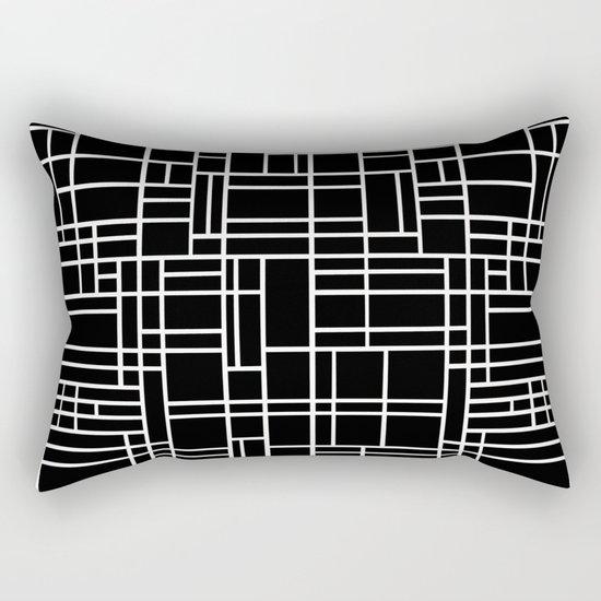 Map Outline White on Black Rectangular Pillow