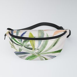 Colorful Leaf Watercolor Jungle Leaves Plant Pattern Fanny Pack