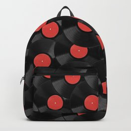 Vinyl Records Pattern (Red) Backpack